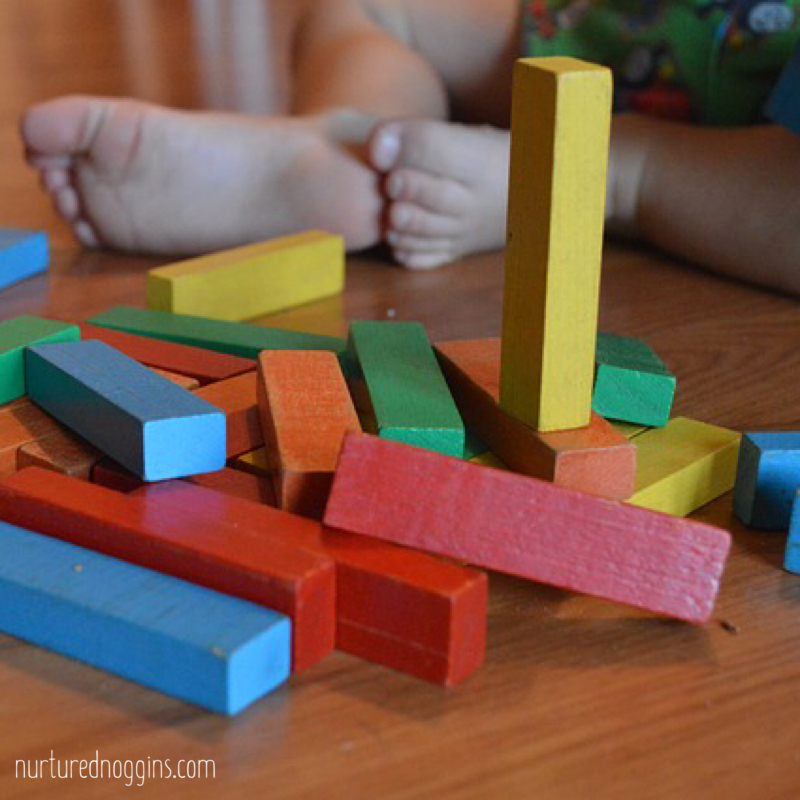 colorful blocks baby feet